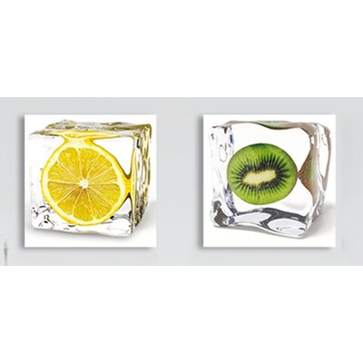 Platin Art Deco Glass Iced Fruits Wall Decor (Set of 2)