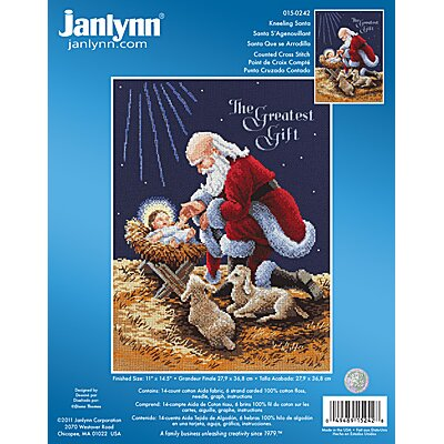 Janlynn Kneeling Santa Counted Cross Stitch