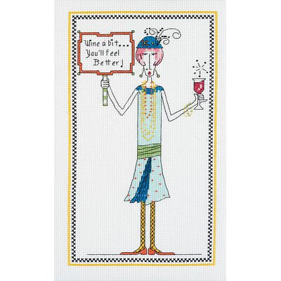 Janlynn Wine A Bit Counted Cross Stitch