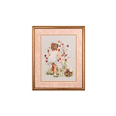 Janlynn Girl with Cosmos Counted Cross Stitch