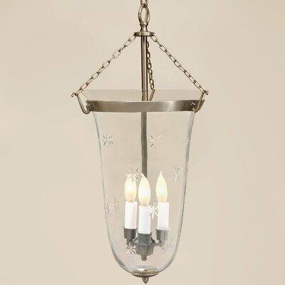JVI Designs 3 Light Small Elongated Bell Jar Foyer Pendant with Star Glass