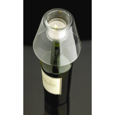 Biedermann and Sons Glass Wine Bottle Candle Holder