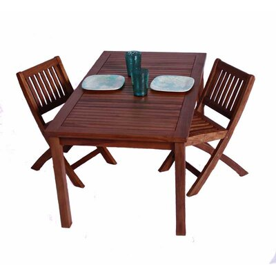 Classic Kids 3 Piece Teak Table and Folding Chair Set