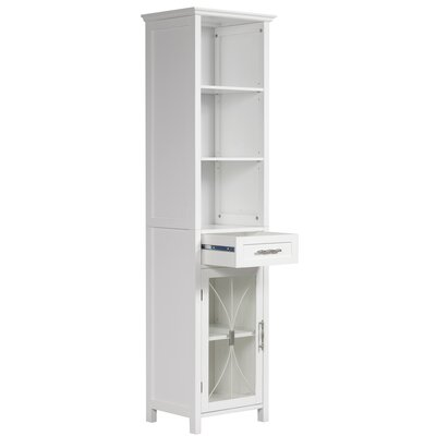 Elegant Home Fashions Mason Linen Tower with One Door and Three Open Shelves