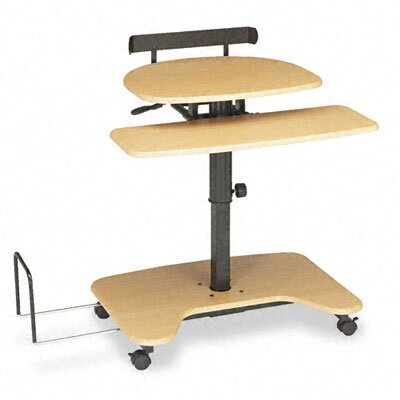 Balt Hi-Hi-Lo Adj Pneumatic Workstation, 39-1/2 x 31-1/4 x 39-1/4, Teak Laminate Top