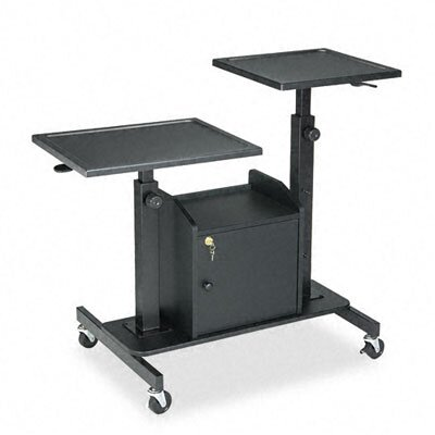 Balt Pro-View Projection Stand, 2 Platforms, 33 x 24 x 28-1/2 to 44-1/2, Black