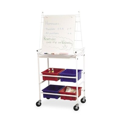 Balt Easel Cart W/Wheels, 4 Tubs for Storage, Dry-Erase Surface