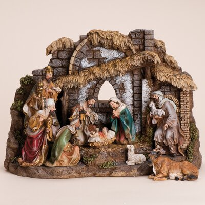 10 Piece Nativity Set With Stable Wayfair