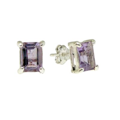 Moise Sterling Silver Amethyst Stud Earrings