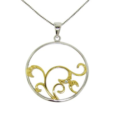 Moise Sterling Silver Diamond Accent Circle Swirl Necklace