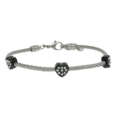 Two-Tone Twisted Wire Crystal Heart Bracelet