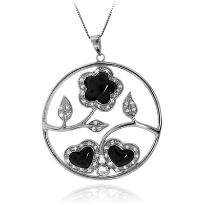 Sterling Silver Flower and Heart Filigree Cubic Zirconia Pendant Necklace