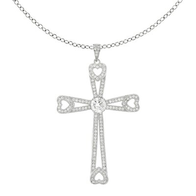 Silvertone with Rhodium over Brass Sparkling Micro Pave Clear Cubic Zirconia Hearts Cross ...