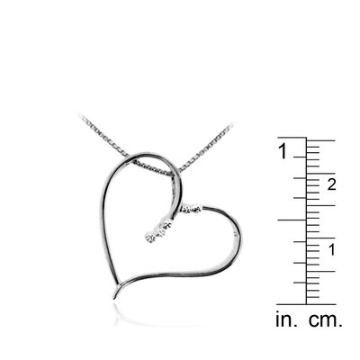 Moise Black Rhodium over Sterling Silver 925 Two-tone Cut-out Heart Shape Pendant Necklace - 18""