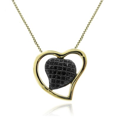 Moise 14kt Vermeil Goldplated and Black Rhodium over Sterling Silver 925 Two-tone Micro-pave Black Cubic Zirconia Heart Pendant Necklace - 18""