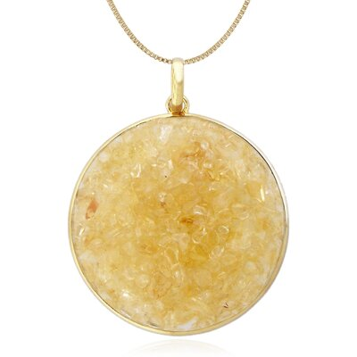 "Moise Sterling Silver with High Shine Vermeil Plating and Crushed Citrine 18"" Pendant Necklace"