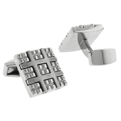 Stainless Steel Silver-Tone Plating High Shine Square Cufflinks