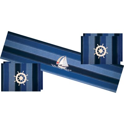 I Sea Life Embroidered Sailboat Table Runner with Ships Wheel Placemat (Set of 4)