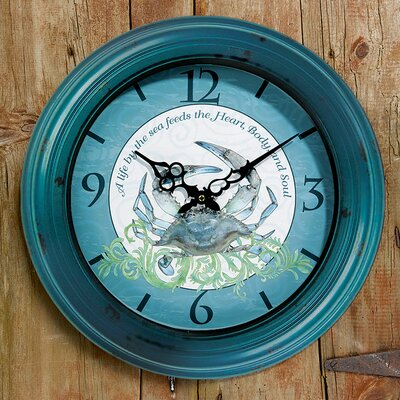 I Sea Life Bezel Crab Wall Clock