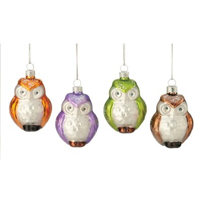 Owl Glass Ornament (Set of 4)
