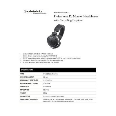 Audio-Technica Professional DJ Monitor Swivel Earpiece Headphones