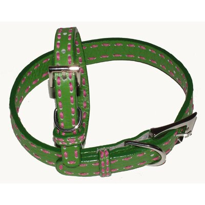 A Pet's World Saddle Stitch Leather Dog Collar