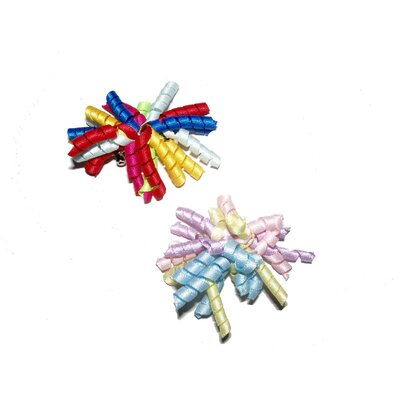 A Pet's World Two Curly Ribbon Dog Barrettes