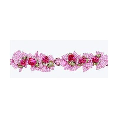 A Pet's World Pink Gingham Dog Collar with Petal Flower Rosettes and Pearls