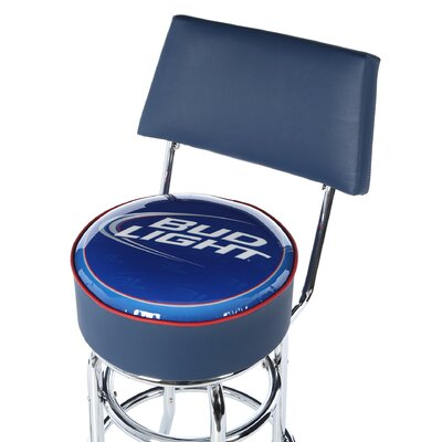 Trademark Global Bud Light Blue Padded Bar Stool with Back