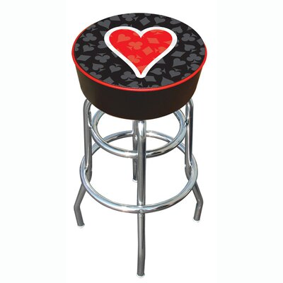 "Trademark Global 30"" Four Aces Heart Logo Padded Bar Stool"
