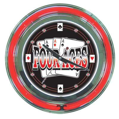 Trademark Global Four Aces Neon Clock