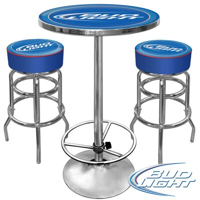 Trademark Global Ultimate Bud Light Gameroom 3 Piece Pub Table Set