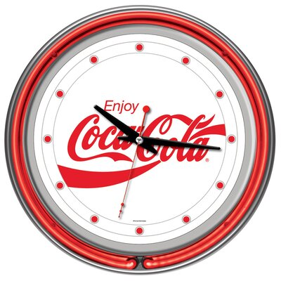 Trademark Global Enjoy Coke White Neon Clock with 2 Neon Rings