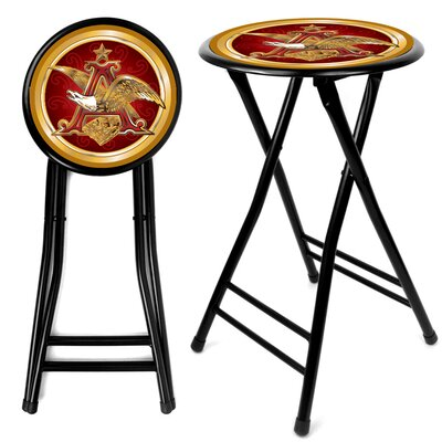 Trademark Global Anheuser Busch  A & Eagle Folding Counter Stool in Black