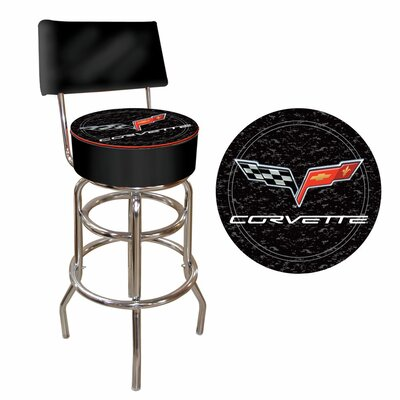 Trademark Global Corvette C6 Padded Bar Stool with Back in Black on Black