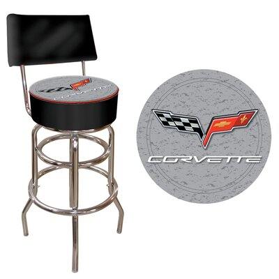 Trademark Global Corvette C6 Padded Bar Stool with Back in Silver