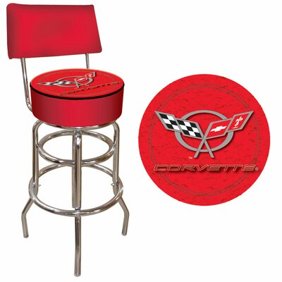 Trademark Global Corvette C5 Padded Bar Stool with Back in Red