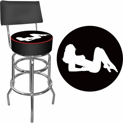 Trademark Global Shadow Babes - A Series - High Grade Padded Bar Stool with Back