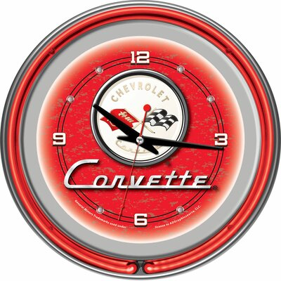 "Trademark Global Corvette C1 14"" Neon Wall Clock in Red"