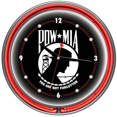 "Trademark Global POW 14"" Double Ring Neon Wall Clock"