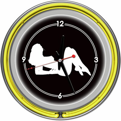 Trademark Global Shadow Babes - A Series - Clock with Two Neon Rings in Yellow