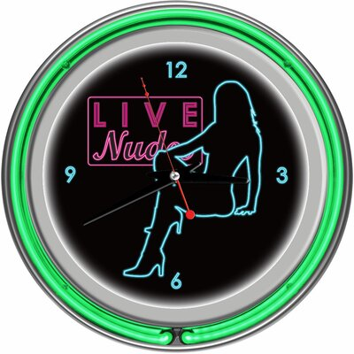 Trademark Global Shadow Babes - D Series - Clock with Two Neon Rings in Green