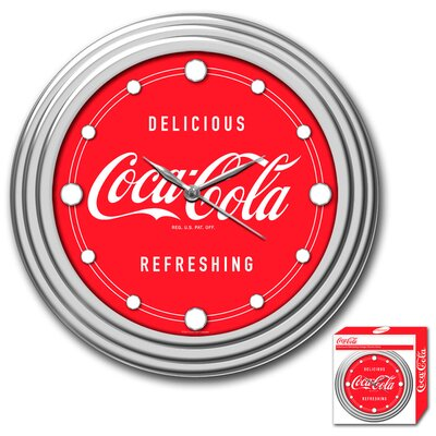 Trademark Global Coca-Cola Clock with Delicious Style in Chrome