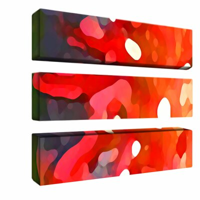 "Trademark Global Red Sun by Amy Vangsgard, 3 Panel Wall Art  - 8"" x 32"""