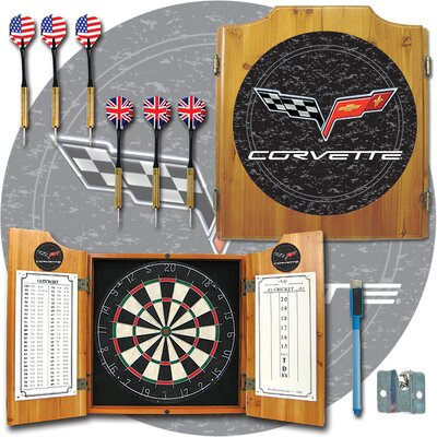 Trademark Global Corvette Model Dart Cabinet in Medium Wood