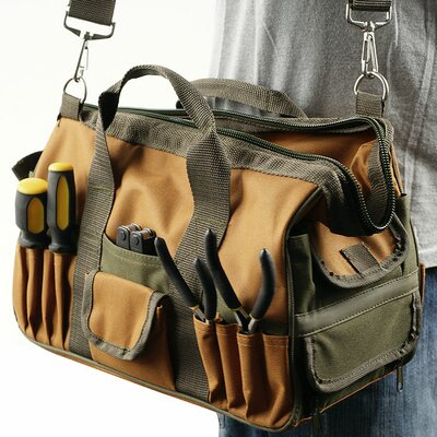 Rugged Nylon Multi Pocket Tool Bag with Shoulder Strap