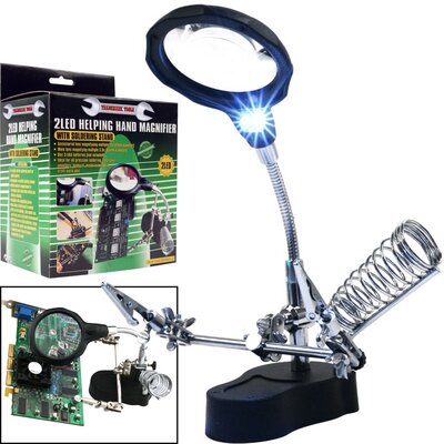 Trademark Global Helping Hand Magnifier with 2 LED Lights
