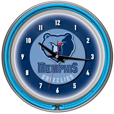 Trademark Global nBA Chrome Double Ring Neon Clock
