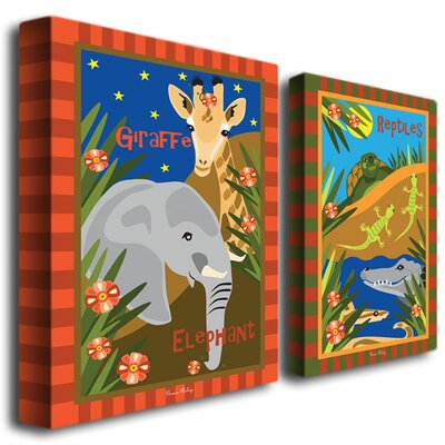 Trademark Global Animal Friends by Grace Riley Canvas Art (Set of 2)