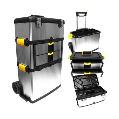 Trademark Global Massive and Mobile Stainless Steel Tool Box